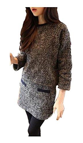 [해외](보물 디)도 거적 따뜻한 투피스 트위드 두꺼운 상하 설치 스웨터 그레이 M L XL 여성 가을/(Treasure di) is also cozy warm two-piece tweed thick up and down setup sweater Gray M L XL Women`s Autumn