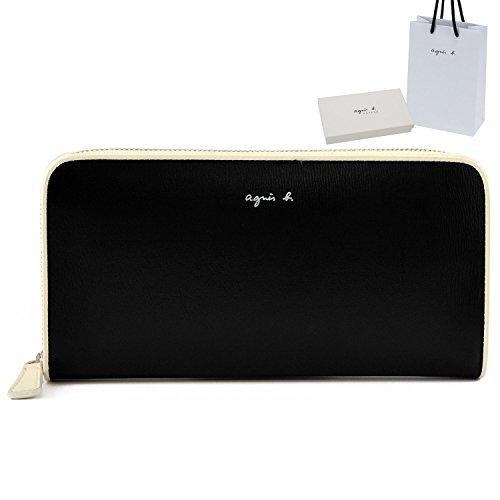 (アニエスベー) agnes b. VOYAGE アニエスベー ボヤージュ正規品 ラウンドファスナー レザー 長財布 ショップバッグ付 本革 ロングウォレット 財布 (ブラック×ホワイト)