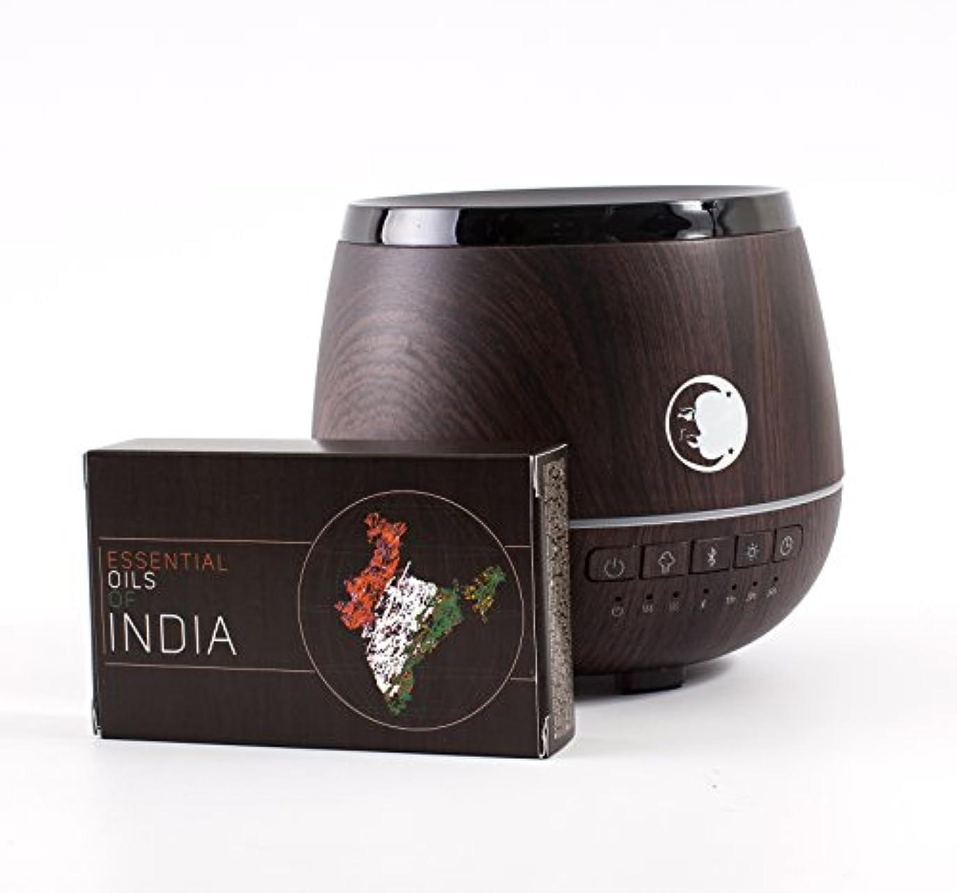 謎食事出席Mystic Moments | Wood Effect Aromatherapy Oil Ultrasonic Diffuser With Bluetooth Speaker & LED Lights + Essential...