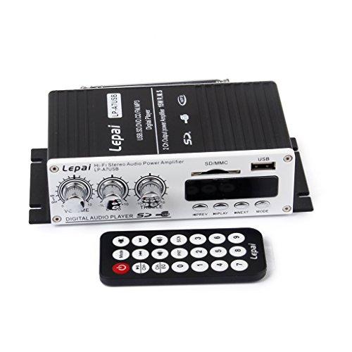 【ノーブランド品】オーディオアンプ リモートコントロール リモコン付きUSB / SDポートFMの車のミニMP3ハイファイステレオ オーディオ アンプ