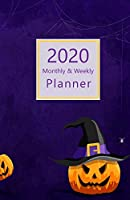 """2020 Monthly & Weekly Planner: With Daily To-Do list. Calendar, Schedule, Assignments, 2021 Future plans. Monday start week. Portable. 8.5"""" x 5.5"""" (Half letter size) (Halloween themed, purple, jack-o'-lantern. Soft matte cover)."""