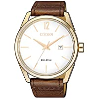 Citizen Men's Solar Powered Wrist watch, Leather Strap analog Display and Leather Strap, BM7418-17A