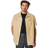 Stussy Men's Socal Stripe Mens Ss Shirt Short Sleeve Cotton Yellow
