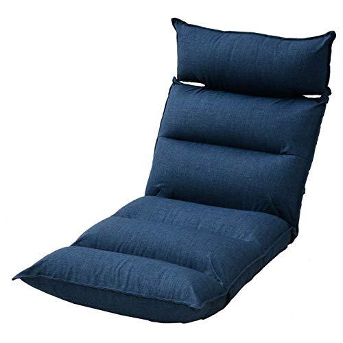 山善 ヘッドサポート座椅子 幅56×奥行67-128×高さ14-65cm ヘッドレスト左右可動 リクライニング(ヘッドレスト・背もたれ・脚部) 完成品 ネイビー IKMZ-56(NV)