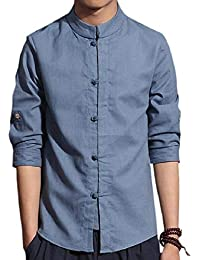 Sodossny-JP メンズコットンリネンスリム3分の1スリーブ薄いスタンドカラーカジュアルトップシャツ