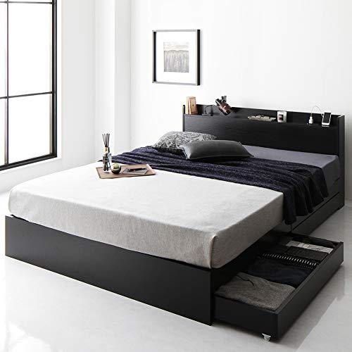 ベッド キャスター付 収納付き 棚付き 宮付き コンセント付 ハイクオリティモダン ブラック セミダブル ベッドフレームのみ