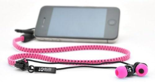 ジップアップ インナータイプ イヤフォン「Zipbuds(ジップバズ)」 ピンク