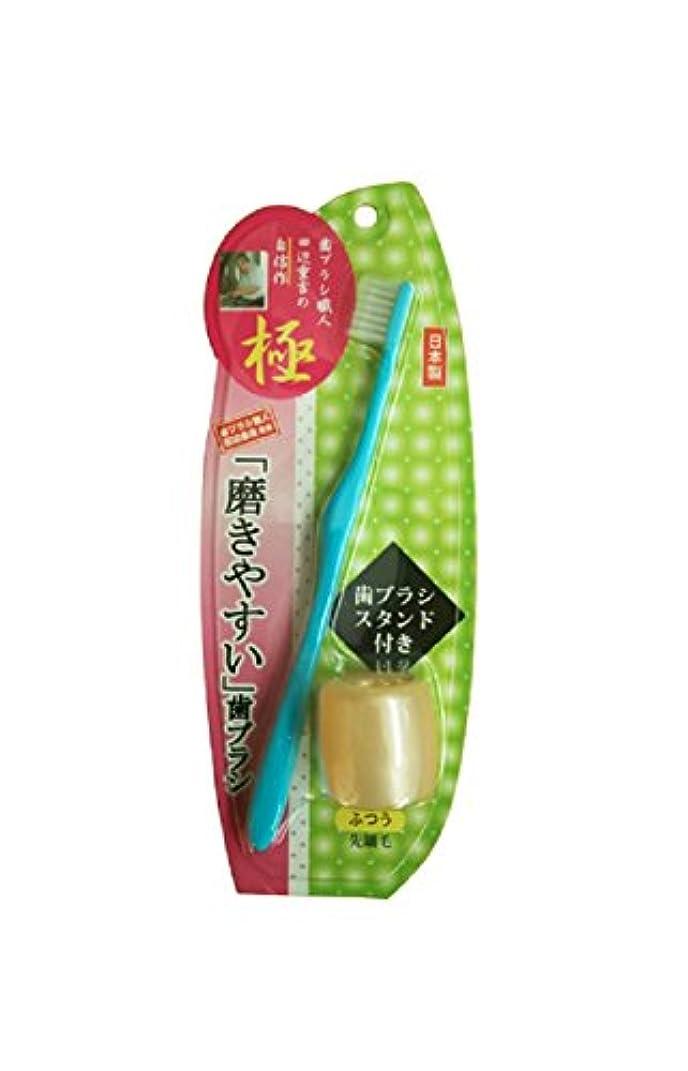 綺麗な浸漬石化する磨きやすい歯ブラシ極 先細毛 歯ブラシスタンド付 LT-23 ブルー