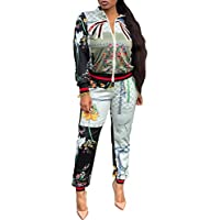 PlushZone Women's 2 Piece Outfits Floral Jumpsuits Short Sleeve Loose High Waist Long Pants Casual Rompers Tracksuits