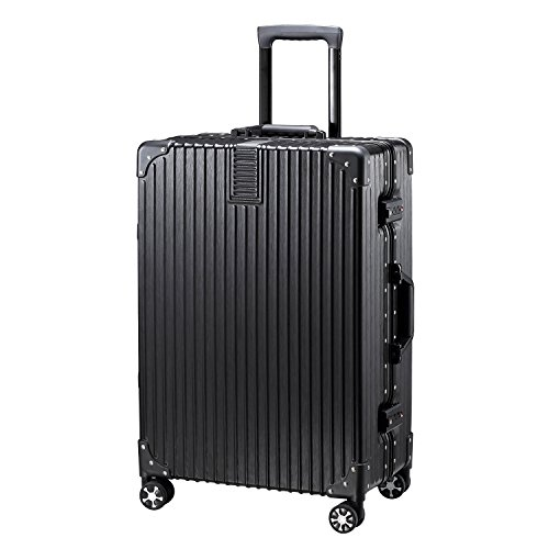 【タビトラ】TABITORA ノー・ジッパー TSAロック 超軽量 アルミフレーム スーツケース ブラック M
