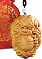 ESTRELLA 彫刻 貔貅 ヒキュウ 風水 開運 (木製ストラップ, カツラ)