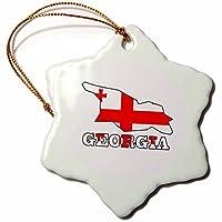 3dローズ777images国と名前のアウトラインマップでの国のフラグフラグ、マップ–をGeorgiaジョージア。–Ornaments 3 inch Snowflake Porcelain Ornament orn_63155_1