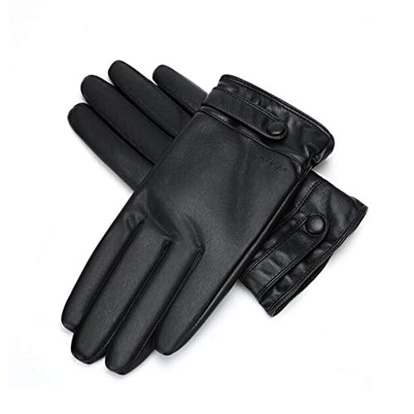 憂慮すべき溶岩クアッガ暖かい秋と冬を保つためにメンズ革手袋のタッチスクリーンメンズ自転車厚いぬいぐるみ手袋 (サイズ さいず : L21*8.9cm)