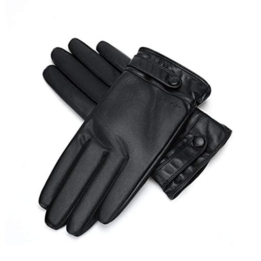 成功傭兵インタビュー暖かい秋と冬を保つためにメンズ革手袋のタッチスクリーンメンズ自転車厚いぬいぐるみ手袋 (サイズ さいず : L21*8.9cm)
