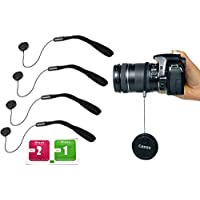 カメラ レンズ キャップ 落下 防止 ストラップ 紛失防止 ラバー ホルダー 4本セット+液晶スクリーン クリーニングシート (2枚/Wet & Dry)/ Canon Nikon PENTAX Panasonic OLYMPUS SONY 一眼レフ ミラーレス コンパクトデジカメ etc.