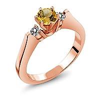 Gem Stone King 0.58カラット 天然 シトリン 天然 ダイヤモンド シルバー925 ピンクゴールドコーティング 指輪 リング