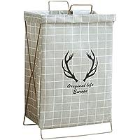 収納バスケット折り畳み可能なファブリック綿とリネンブラケット汚れた洗濯グレー