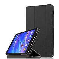 Huawei Mediapad T5 8.0ケース カバー 手帳型 Huawei Mediapad T5 8.0専用ケース 三つ折りカバー 軽量 Huawei Mediapad T5 8.0 8インチタブレット用ケース マグネット式 スタンド機能付き 両用タッチペン付き (Mediapad T5 8.0, ブラック)