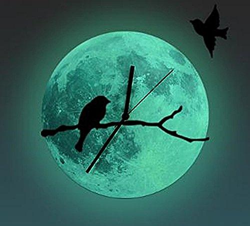 鳥 の 壁 掛け 時計 バード ウォール クロック 黒 赤 静音 おしゃれ かわいい 落ち着いた 雰囲気 インテリア 模様替え 風流 情緒 風情 (月面 夜光(蓄光))