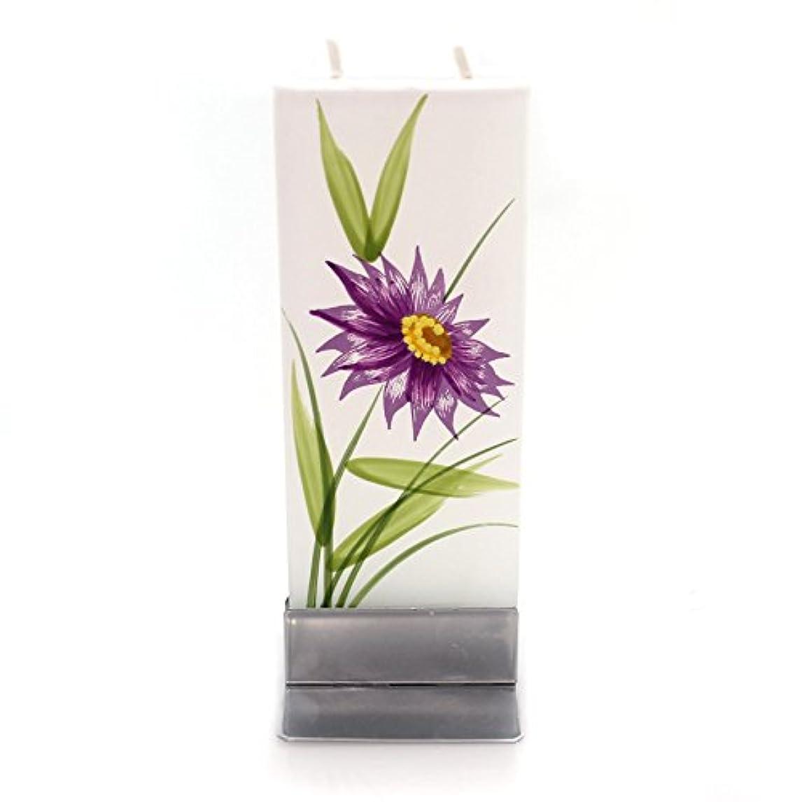 株式会社テクスチャー失業者ホームデコレーションパープル花W /イエローCentre Dripless Fragrance Free Candle f1640