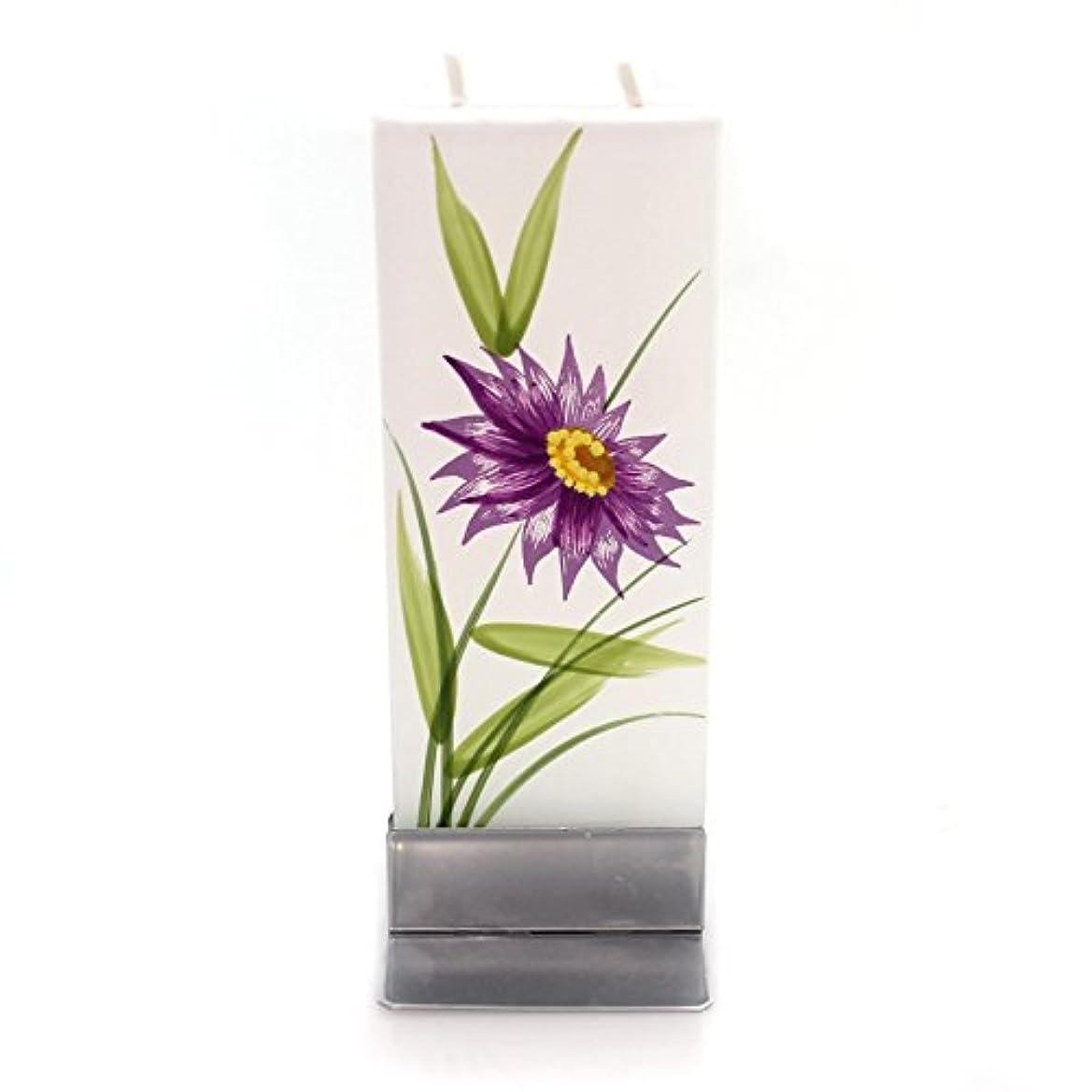 バーベキューもつれセクタホームデコレーションパープル花W /イエローCentre Dripless Fragrance Free Candle f1640