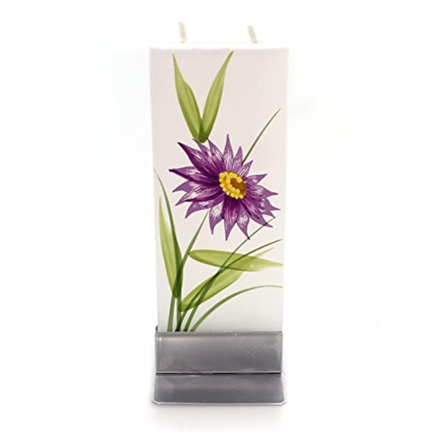 失速浮浪者事業内容ホームデコレーションパープル花W /イエローCentre Dripless Fragrance Free Candle f1640