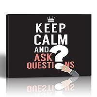 emvencyキャンバスプリント絵画スクエア16x 16インチブラック抽象Keep Calm and Ask質問クラウンDoubt FAQフラットグラフィックHand壁アート装飾Wrapped木製フレーム 20x30 グリーン