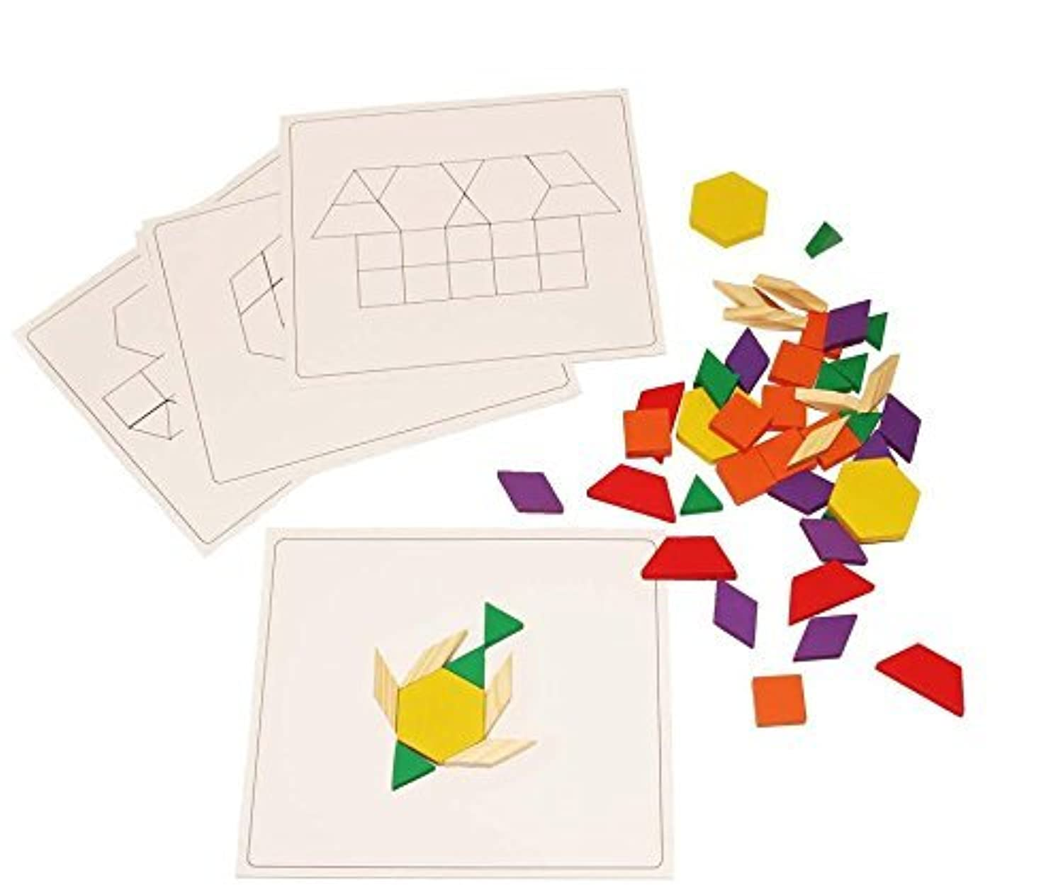 Dazzling Toys Wooden Blocks and Board Set, Pattern Boards Included. Set Contains 120 Wooden Blocks Great Party Gift.