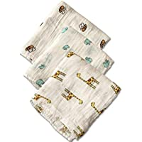 PEKITAS Muslin Baby Swaddle Blankets - 3 Pack - 45 x 45 inch Large 100% Soft Cotton- Unisex (3 PCS- Animals-Green) [並行輸入品]