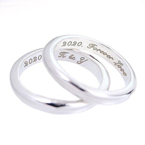 ペアリング 刻印可能 甲丸リング3mm 指輪 2個 セット シルバー 925 シルバー カップル
