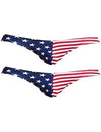 Baosity 勝負下着 Tバック Gストリング パンツ アメリカの旗柄 メンズ ビキニ ブリーフ 通気性 2枚セット