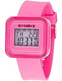 デジタル腕時計 子供腕時計 キッズ時計 アラーム 防水 ストップウオッチ スポーツ腕時計 ピンク