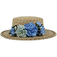 Sun Hat, Women Summer Wheat Straw Boater Hat Lady with Handmade Flower Sunbonnet 2018 New, (Color : Natural, Size : 56-58cm)
