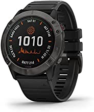 Garmin Fenix 6X Pro Solar, Premium Multisport GPS Smartwatch, Titanium Carbon Grey With Black Band