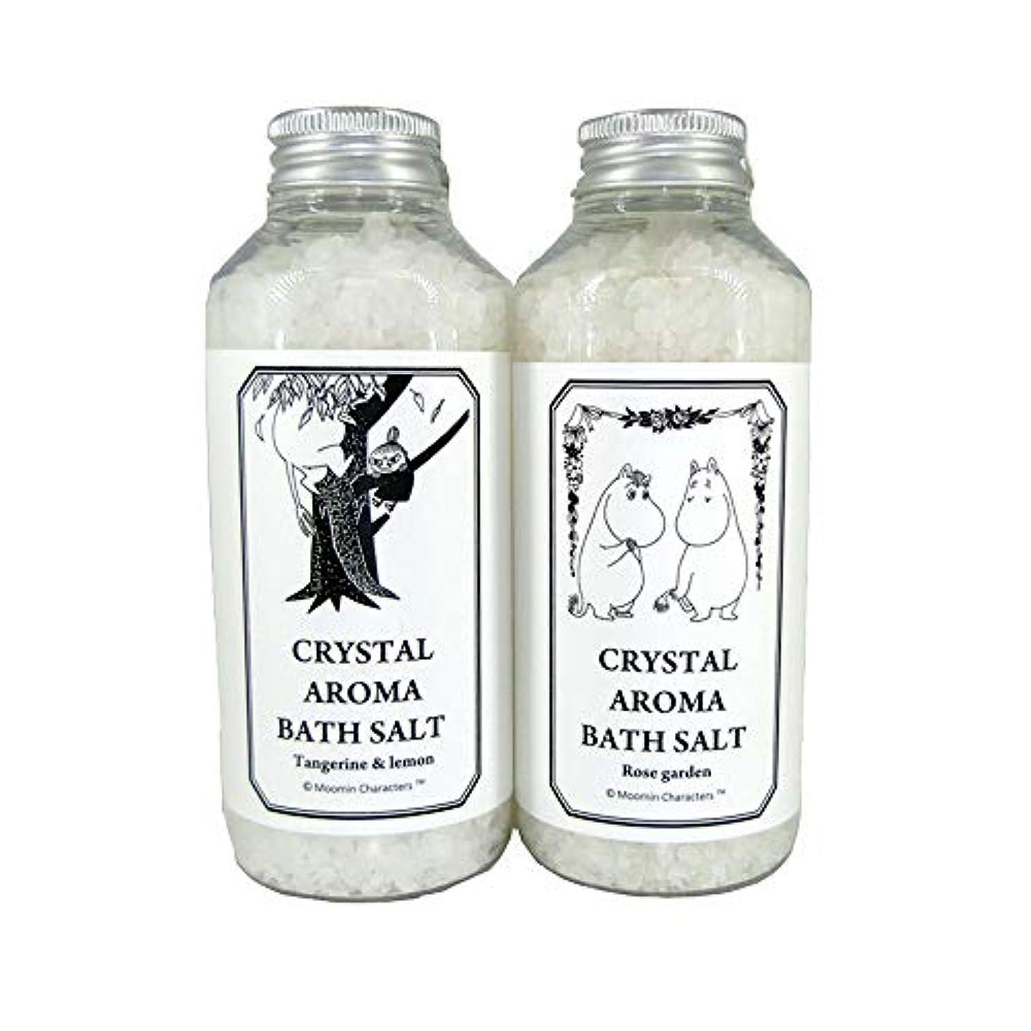 ドレイン服地上の【ムーミン】アロマバスソルト セットB タンジェリン&レモンの香り?ローズガーデンの香り