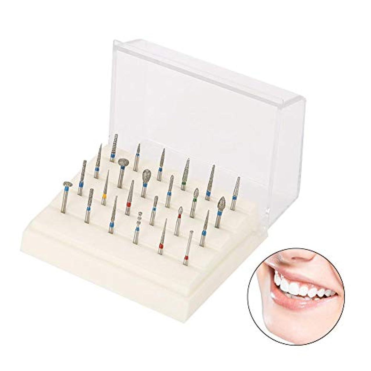 女の子中で白い歯科用バーブロック、24穴歯科用ラボ用アルミニウム製 歯科用 ダイヤモンドバースドリル 高速ブロックボックス 歯科用ダイヤモンドバースドリル 歯科用ツール