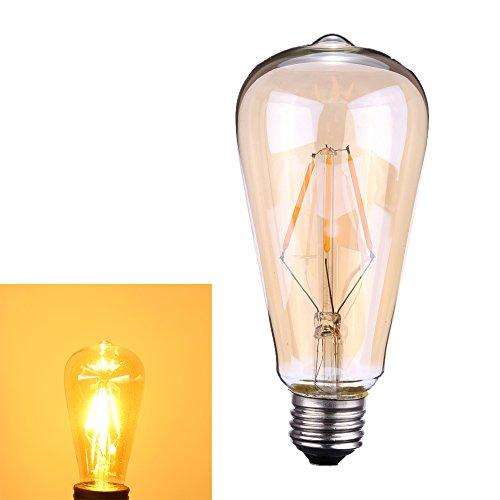 Tomshine フィラメント電球 4W ST64 E26 E27口金 電球色 AC110-120V リアタイプ エジソンランプ LEDクリア電球 LED電球