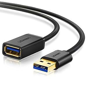UGREEN USB 3.0 延長ケーブル タイプAオス- タイプAメス 金メッキ ブラック 2m