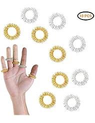 ライフ小屋 爪もみリング マッサージリング 10個入り トゲトゲ形状 指マッサージリング 指用 筋肉緊張和らげ ツボ押し