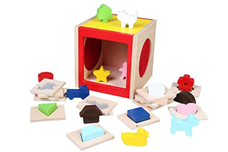 【森の遊び道具シリーズ】 たっちゃん げす  形状ゲス 幾何認知 知育ボックス (BOX)
