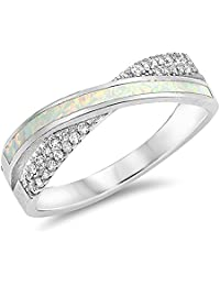 White Simulated Opal Double Shank Criss Cross Ring 925 Sterling Silver Band Sizes 5-10