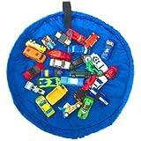 HOPIC おもちゃ 片付け プレイ マット LEGO トミカ お片付け 収納 袋 直径45cm (ミニサイズ:ブルー)