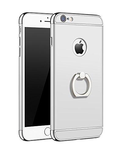 OURJOY iPhone6sケース iPhone6ケース リング付き 衝撃防止 スタンド機能 3パーツ式 おしゃれ スリム 薄型 アイフォン6/6s ケース 携帯カバー (iPhone 6/6s, シルバー)
