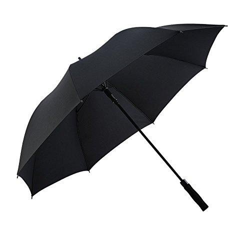 Wsky 長傘 ゴルフ傘 紳士傘 大きな傘 自動開けステッキ傘 150センチ 高強度グラスファイバー傘骨 210T Teflon加工 超耐風撥水 晴雨兼用 収納ポーチ付き(ブラック)
