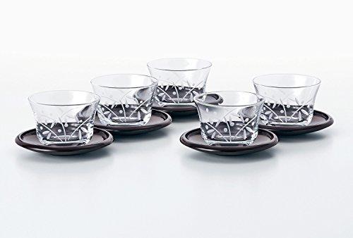 冷茶 グラス 5客 セット 絵ごよみ 切子揃 茶托 付き 185ml G070-T246