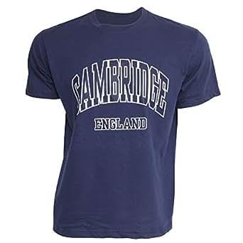 メンズ Cambridge England ケンブリッジ イングランド 綿100% 半袖Tシャツ トップス カットソー 男性用 (S(胸囲86-91cm)) (ネイビー)