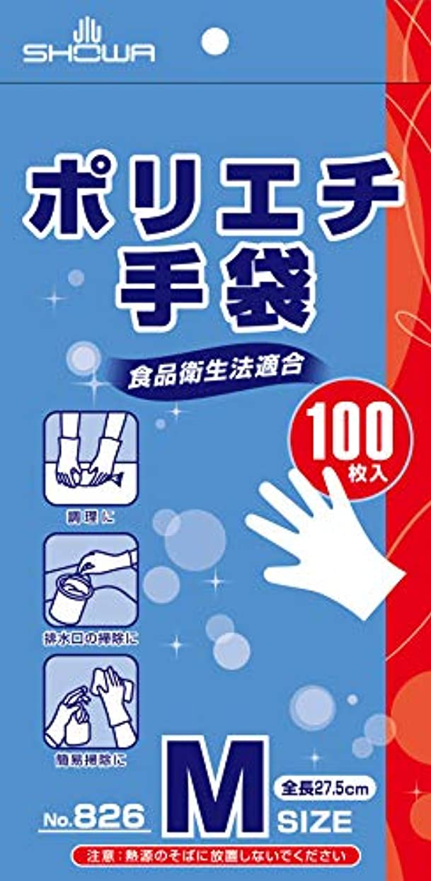 割るアッパー応じるショーワ No.826 ポリエチ手袋 Mサイズ 100枚入