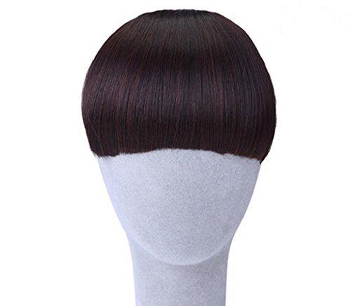 CEXIN(セシン) レディース 前髪ウィッグ エクステ ウィッグ 「フルバング前髪」 ぱーつん 厚い ストレートカット 「 2個固定用クリップを付け」 ダークブラウン