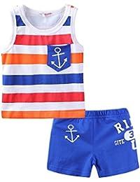 LittleSpringキッズ 男の子 女の子 ボーダー タンクトップ&ショートパンツ 上下セット パジャマ 部屋着 スポーツウェア トレーニング
