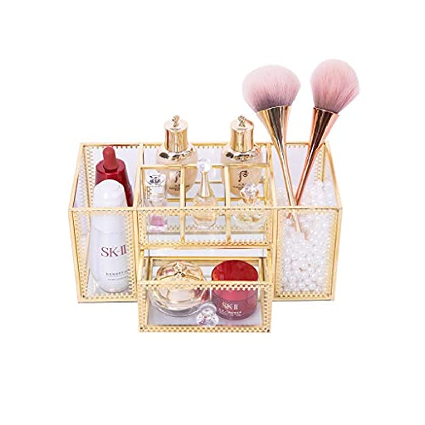だらしない普通の成功した化粧台化粧ブラシチューブガラスデスクトップラックスキンケア製品収納ボックス